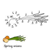 Numbers game: fruits and vegetables (spring onions) Royalty Free Stock Images