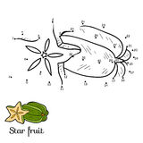 Numbers game: fruits and vegetables (star fruit) Stock Images