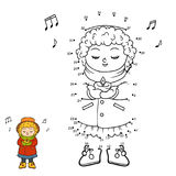 Numbers game, Girl singing a Christmas song. Numbers game, education dot to dot game for children, Girl singing a Christmas song Stock Photography