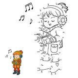 Numbers game, Girl singing a Christmas song. Numbers game, education dot to dot game for children, Girl singing a Christmas song Royalty Free Stock Photography