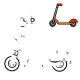 Numbers game, Kick scooter. Numbers game, education dot to dot game for children, Kick scooter Royalty Free Stock Image