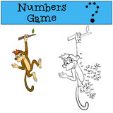 Numbers game. Little cute brown monkey. Royalty Free Stock Photography