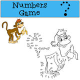 Numbers game. Little cute brown monkey. Royalty Free Stock Photo