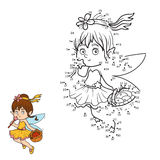 Numbers game (little fairy with a basket of fruit) Stock Image