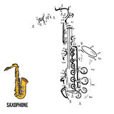 Numbers game: musical instruments (saxophone) Royalty Free Stock Image