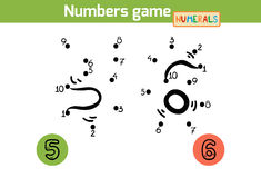 Numbers game (Numerals): five, six. Numbers from one to ten Royalty Free Stock Image