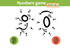Numbers game (Numerals): nine, zero Stock Image