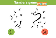 Numbers game (Numerals): one, two Royalty Free Stock Photography