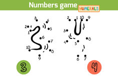 Numbers game (Numerals): three, four Stock Images