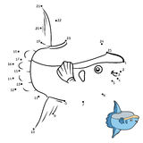 Numbers game, Ocean sunfish. Numbers game, education dot to dot game for children, Ocean sunfish Stock Photos