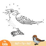 Numbers game, Sparrow. Numbers game, education dot to dot game for children, Sparrow Stock Photography