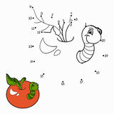 Numbers game (worm and apple) Stock Photography