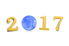 Numbers 2017 and globe Stock Images