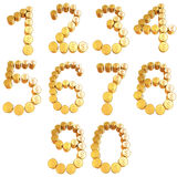 Numbers of gold coins with dollar sign Royalty Free Stock Image