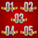 Numbers with golden ribbons. On red background Royalty Free Stock Photography