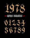 The numbers are in the Gothic style. Vector. Symbols isolated on white background. Calligraphy and lettering. Medieval figures. Individual symbols. Elegant vector illustration