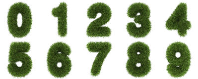 Numbers of green grass concept. isolated on white. stock illustration