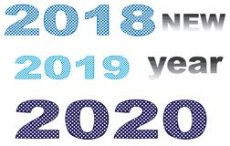 2018 - 2019 - 2020  new year  Comics dot numbers. Numbers 2018 and 2019 and 2020  for greeting card. Words in black, grey and white - New Year.  Comics dot Royalty Free Stock Image