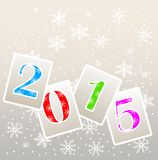 Numbers 2015 on a grey background with snowflakes. Vector illustration Royalty Free Stock Photo