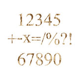 Numbers grunge. Numbers grunge 0-9 and symbols plus, minus, multiply, like fractions, percentages, question mark, exclamation mark. Vector illustration Stock Photo