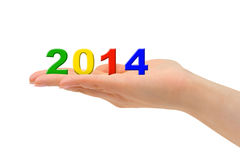 Numbers 2014 in hand Stock Photography