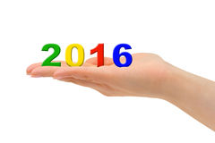 Numbers 2016 in hand Stock Photos