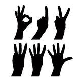 Numbers hand signs set, detailed black and white lines vector si Stock Image
