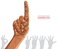 Numbers hand signs set, number one, African ethnicity, detailed Stock Photos