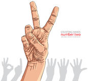 Numbers hand signs set, number two, detailed vector illustration Stock Images