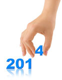 Numbers 2014 and hand Royalty Free Stock Photo