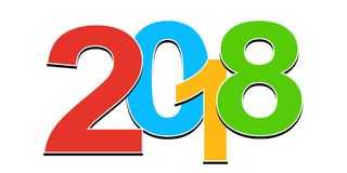 Numbers 2018. Happy New Year. Colorful design elements. Vector. Illustration stock illustration
