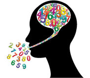 Numbers head. Illustration of head with colorful numbers Stock Photography