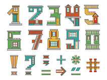 Numbers  house. Handmade font, cartoon style illustrations, numbers and symbols, alphabet Stock Image