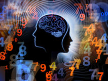 Numbers of Human Mind. Composition of human feature lines and symbolic elements on the subject of human mind, consciousness, imagination, science and creativity Stock Photography