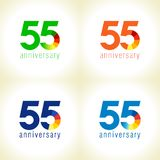 55 numbers idea. 55 years old logotype. Abstract coloured 55 th abstract template medal. Greetings celebrates. Celebrating colgratulating isolated numbers stock illustration