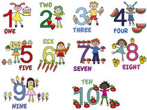 Numbers. Illustration of numbers with funny children Stock Image