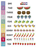 Numbers. Illustration of numbers with objects Royalty Free Stock Photography