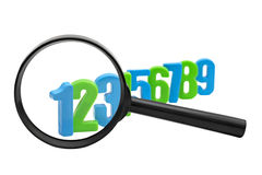 Numbers increased through the magnifying glass Royalty Free Stock Photos
