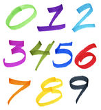 Numbers in ink marker. Large numbers handwritten with colorful permanent ink markers Stock Images