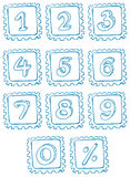 Numbers inside the squares Stock Photo