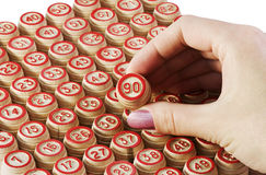 Numbers on kegs, lotto Stock Photo