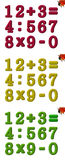Numbers kids. Colourful numbers from 0 to 9 and signs on white background - for school preschool Stock Photos