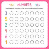 Numbers for kids. Worksheet for kindergarten and preschool. Training to write and count numbers. Coloring exercises for children. Vector illustration vector illustration