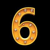 Numbers lamps light 3d illustration render Royalty Free Stock Photography