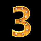 Numbers lamps light 3d illustration render Royalty Free Stock Image