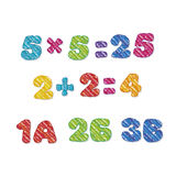 Numbers lettering in kid style. Royalty Free Stock Image