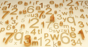 Numbers and letters. Illustration of different numbers and letters. Looks like background from glassy numbers and letters or system, code or just secret disorder Stock Photography
