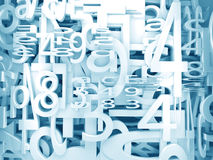 Numbers and letters background. Numbers and letters 3d background in  blue toned Stock Photo