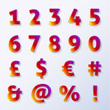 Numbers and letters with diamond texture Royalty Free Stock Photo