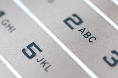 Numbers and letters on an old used  golden mobile Stock Image